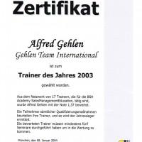BSH Referenzurkunde 2003